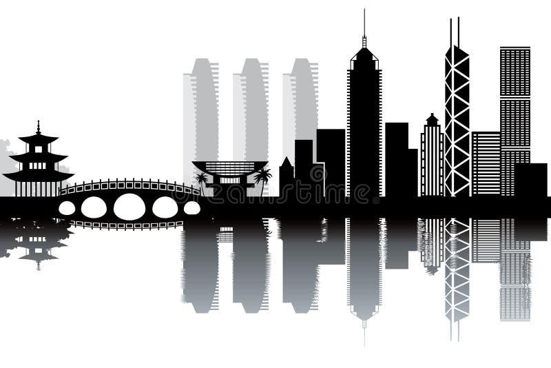 Hong Kong skyline. Black and white vector illustration