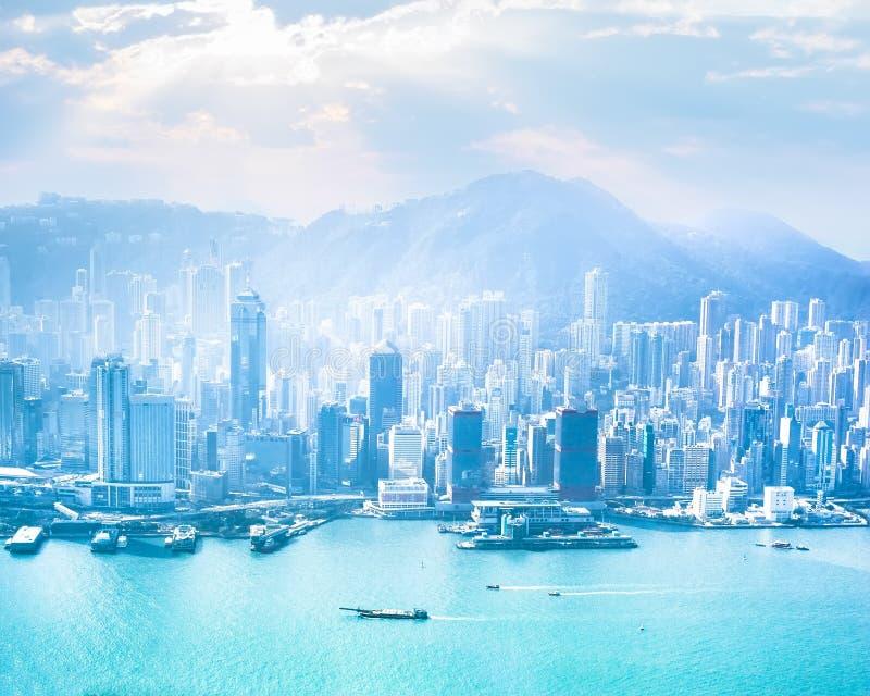 Hong Kong skyline aerial view at sunrise royalty free stock photography