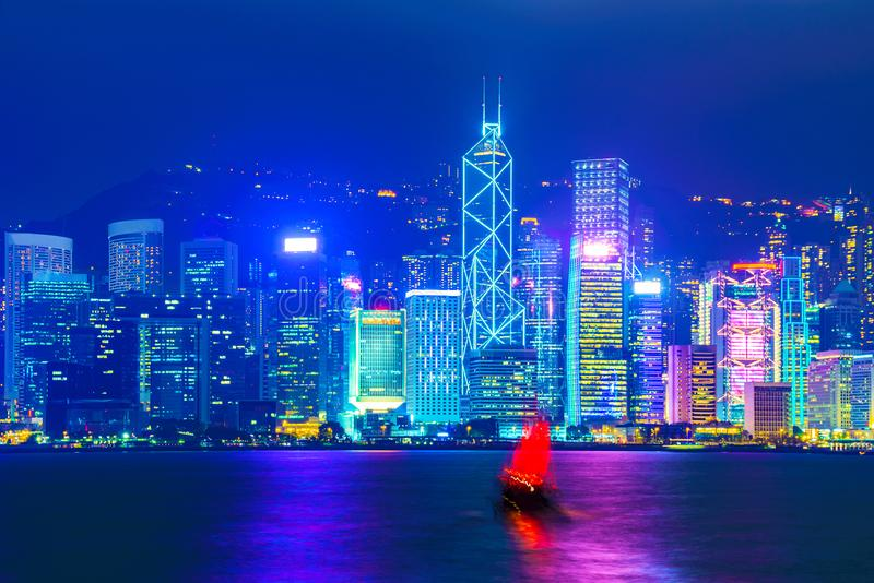 Hong Kong Skyline beskådar nigh royaltyfri fotografi