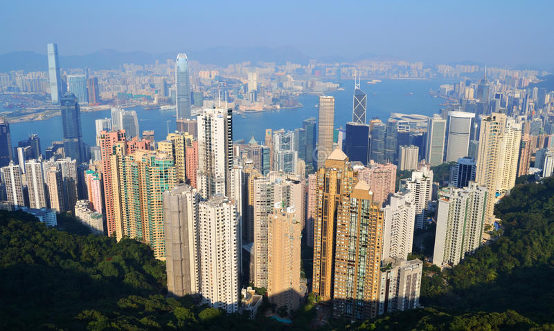 Hong Kong Skyline. Birds eye View royalty free stock photography