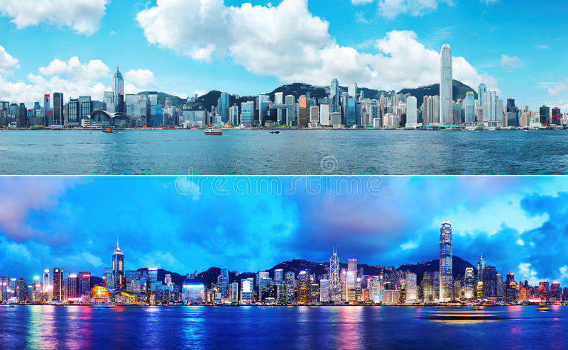 Hong Kong skyline day and night royalty free stock images