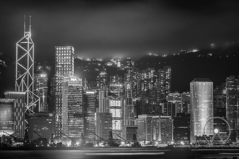 Hong Kong, skyline de China de Victoria Harbor fotografia de stock royalty free