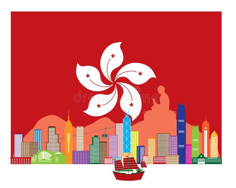 Hong Kong Skyline e estátua da Buda na ilustração do vetor da bandeira da HK ilustração stock