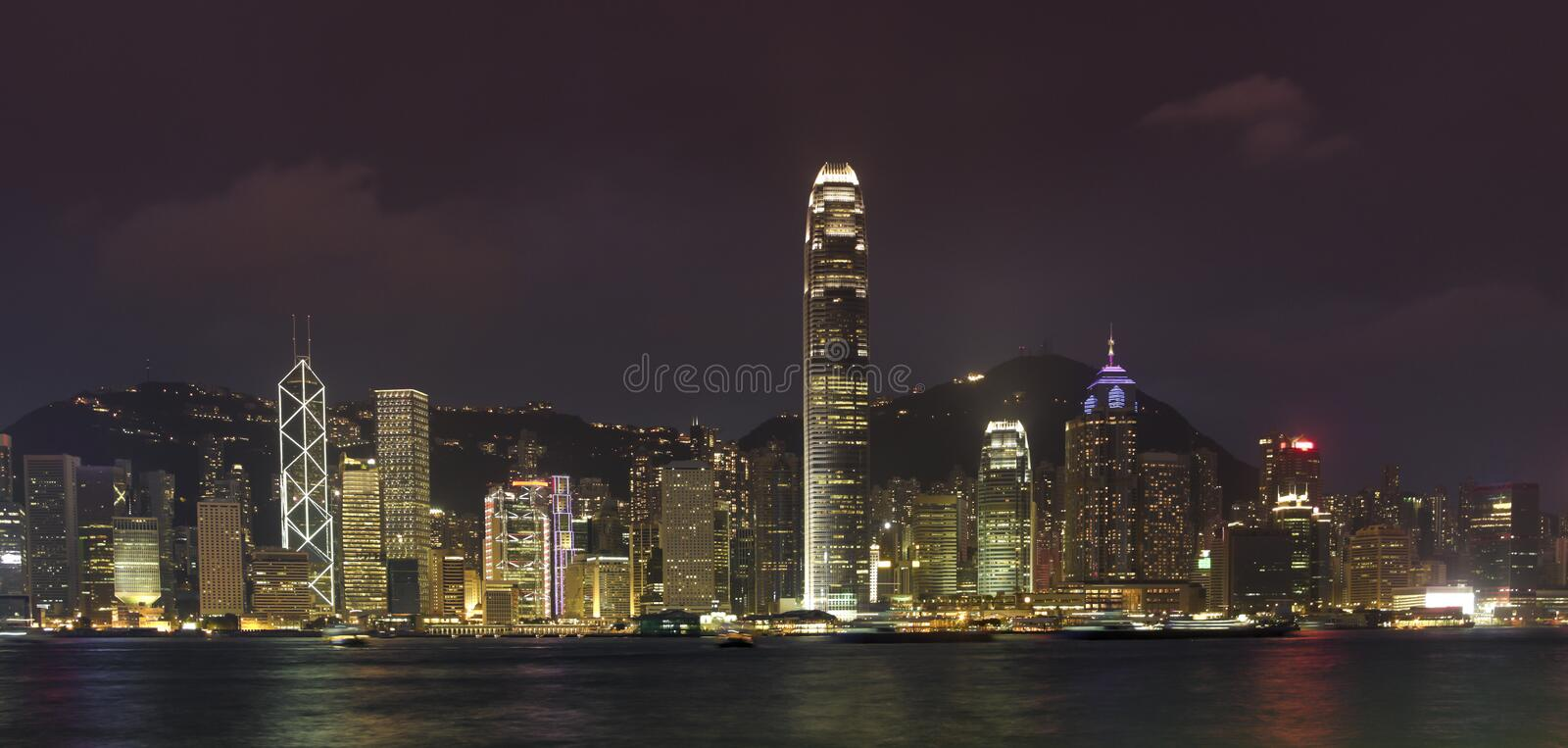 Hong kong skyline at evening stock images