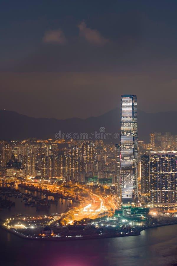 Hong Kong Skyline från Victoria Peak på nattetid arkivbilder