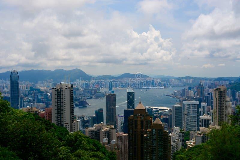 Hong Kong skyline. Hong Kong island, taken from peak peek royalty free stock photography