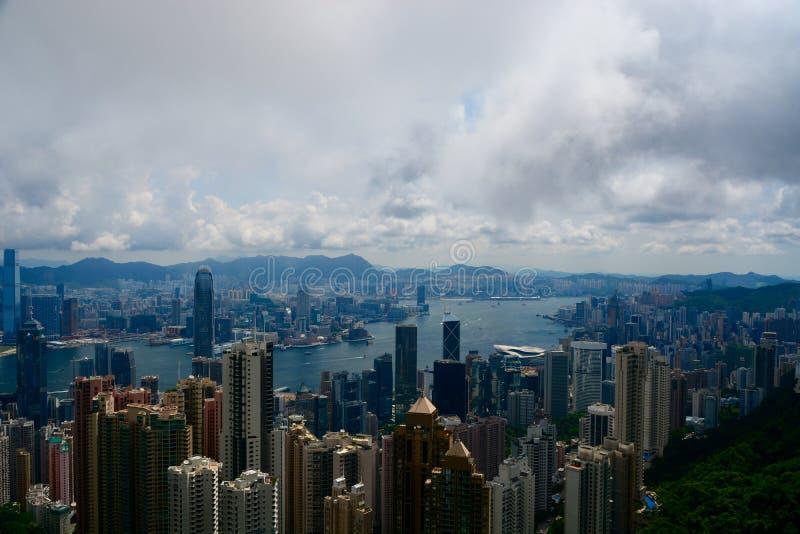 Hong Kong skyline. Hong Kong island, taken from peak peek stock image