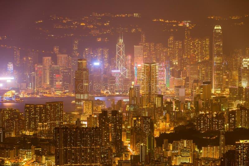 Hong Kong Skyline Kowloon de coucher du soleil de colline de Fei Ngo Shan photos libres de droits