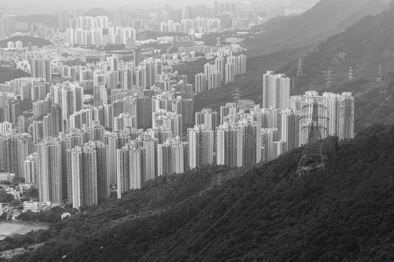 Hong Kong Skyline Kowloon do por do sol do monte de Fei Ngo Shan imagens de stock royalty free