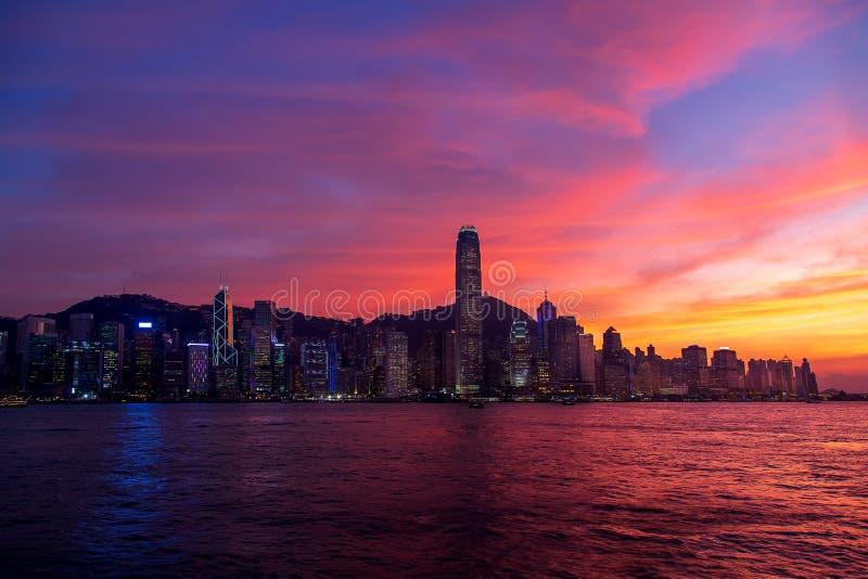 Hong Kong Skyline Kowloon from Fei Ngo Shan hill sunset royalty free stock photos