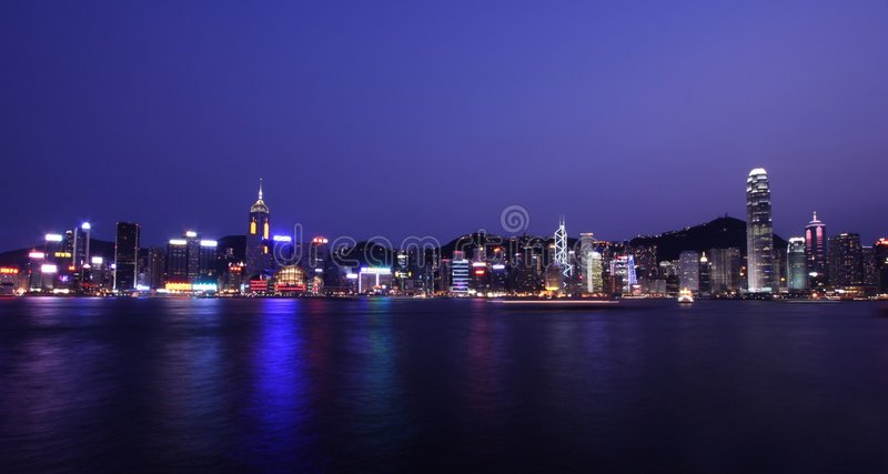 Hong Kong Skyline By Night stock images