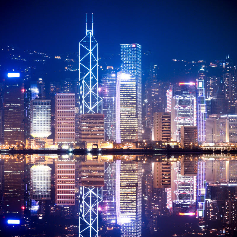 Download Hong Kong skyline at night stock photo. Image of background - 19752312