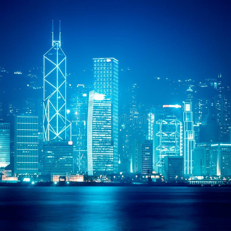 Hong kong skyline at night stock image