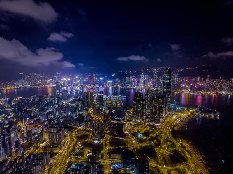 Hong Kong Skyline Night Drone 2018 photo stock