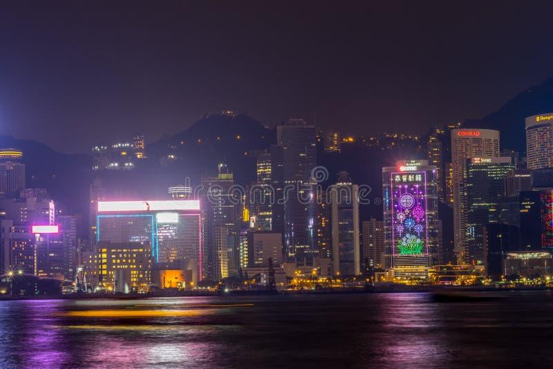 Hong Kong skyline at night Victoria Harbor. Hong Kong city royalty free stock images