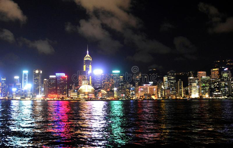 Hong Kong skyline at night, view from Kowloon side. royalty free stock images