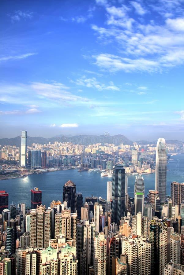 Hong Kong Skyline no por do sol em Sunny Day imagem de stock
