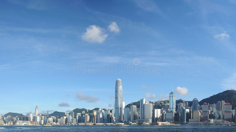 Download Hong Kong skyline panorama stock image. Image of center - 16308009