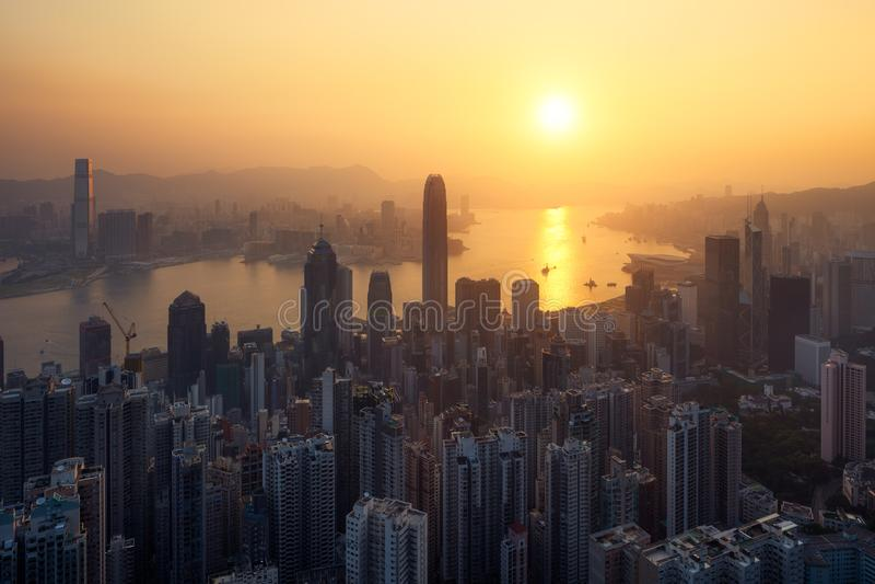 Hong-Kong at Sunrise stock images