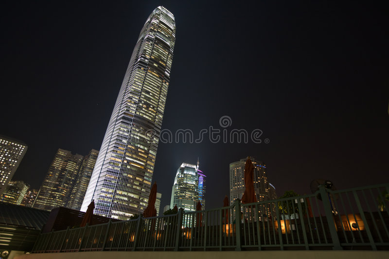 Hong Kong Skyline and tallest building at night royalty free stock photography