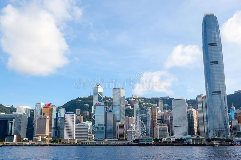 Hong Kong Skyline at Victoria Harbor. HONG KONG, JULY 10, 2017: Modern skyscrapers of the Hong Kong downtown skyline at Central District as seen from Victoria stock photo