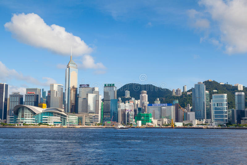 Hong Kong Skyline at Victoria Harbor. HONG KONG, JULY 10, 2017: Modern skyscrapers of the Hong Kong downtown skyline at Central District as seen from Victoria stock images