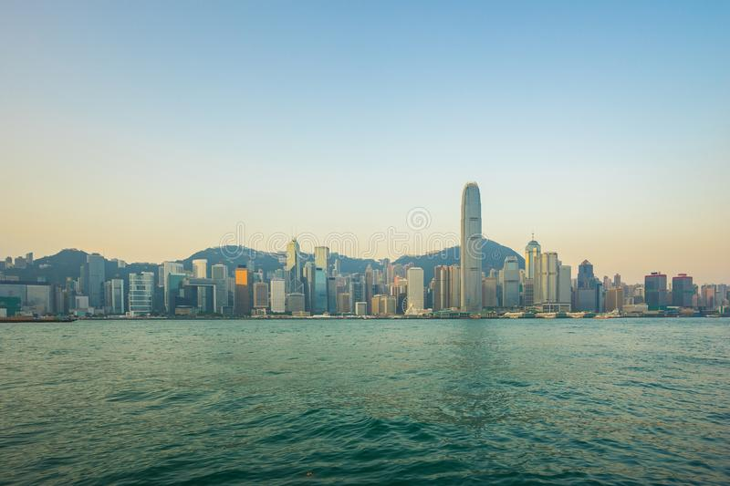 Hong Kong skyline with view of Victoria Harbor.  stock photos