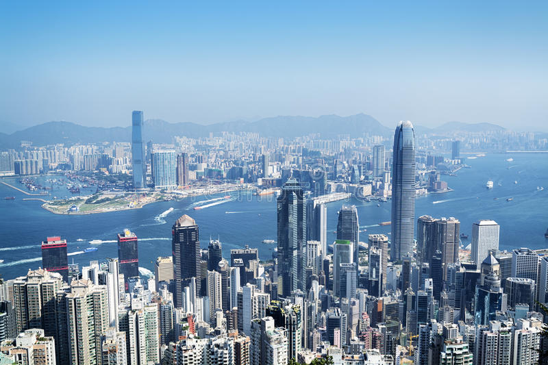 Hong Kong Skyline. View from the Victoria Peak stock images