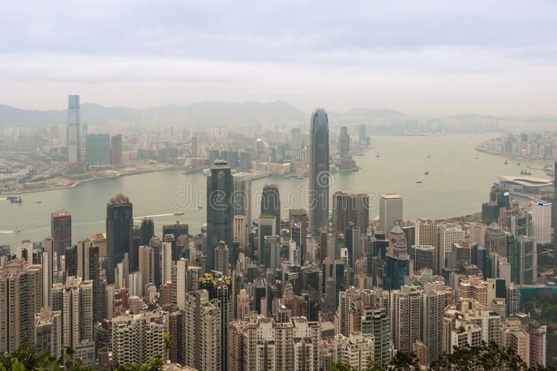 Hong Kong skyline, view from Victoria Peak royalty free stock image