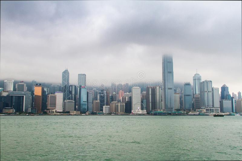 Hong Kong, skyscrapers, clouds stock images
