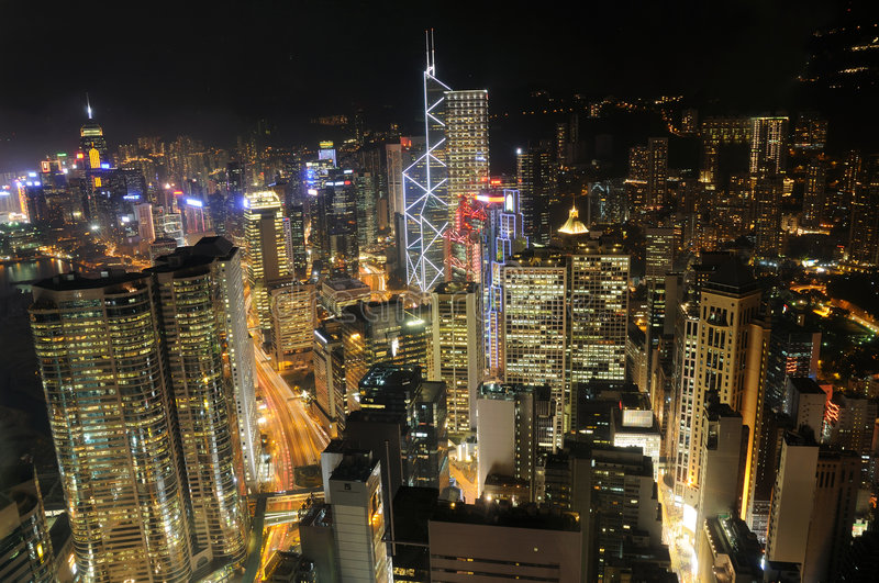 Hong Kong skyscrapers at night royalty free stock photo