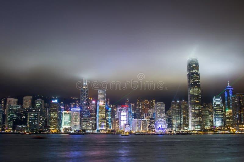 Hong Kong skyscrapers at night stock photo