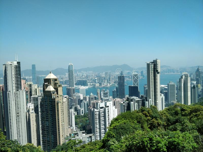 Hong Kong skyscrapers views from Victoria Peak royalty free stock photography