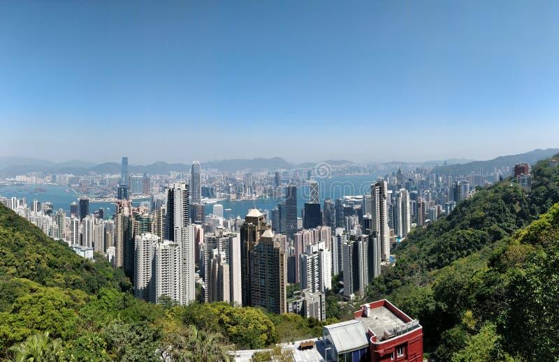 Hong Kong skyscrapers views from Victoria Peak stock photo