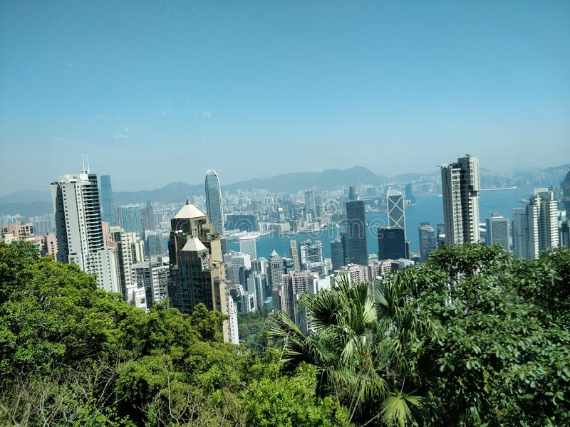 Hong Kong skyscrapers views from Victoria Peak stock images