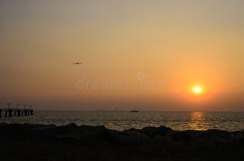 Hong Kong solnedgång fotografering för bildbyråer