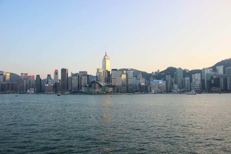Hong Kong-stad, kade royalty-vrije stock afbeeldingen