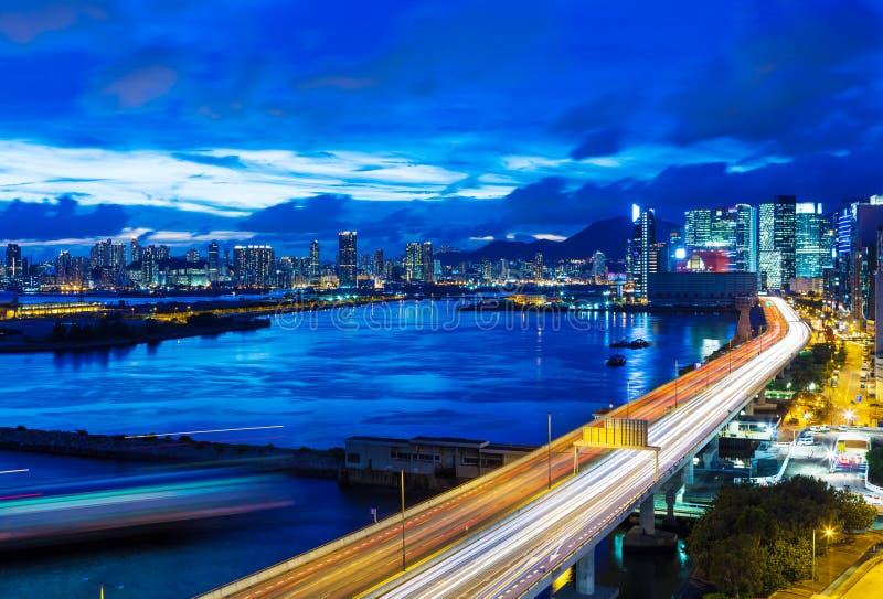 Hong Kong-stad met weg royalty-vrije stock fotografie