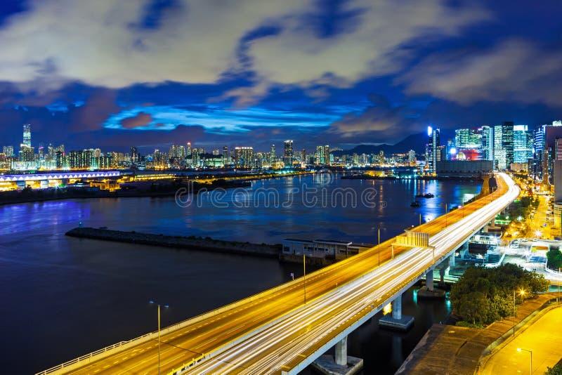Hong Kong-stad met weg royalty-vrije stock foto