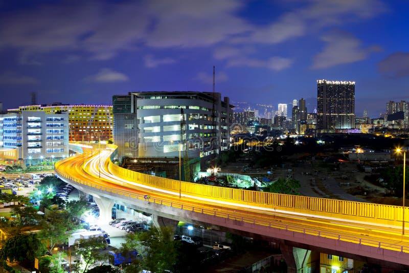 Hong Kong-stad met weg stock afbeelding