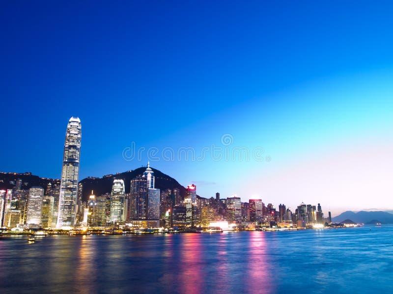 Hong Kong stads- och Victoria hamn royaltyfri fotografi