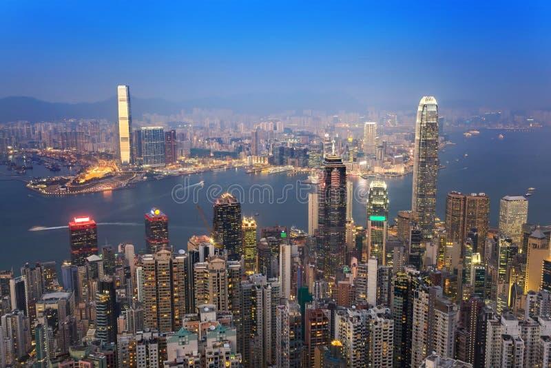 Hong Kong-stadshorizon stock foto's