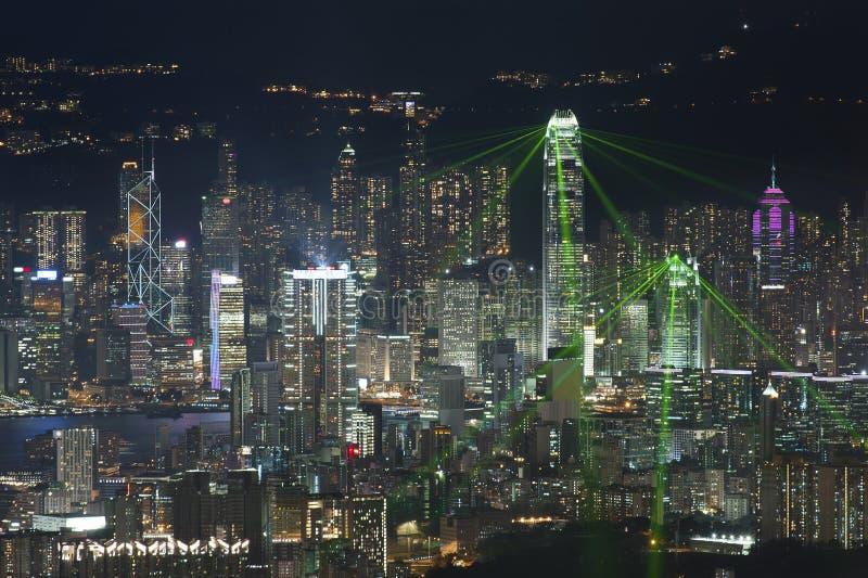 Hong Kong stadsnatt arkivfoto