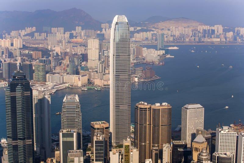 Hong Kong stadssikt från det Victoria maximumet arkivbilder