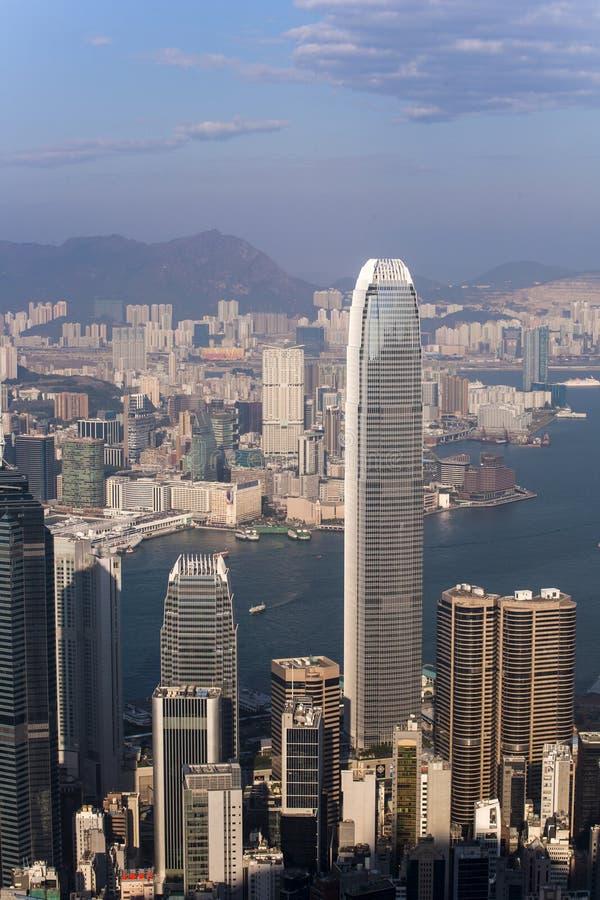 Hong Kong stadssikt från det Victoria maximumet royaltyfri bild