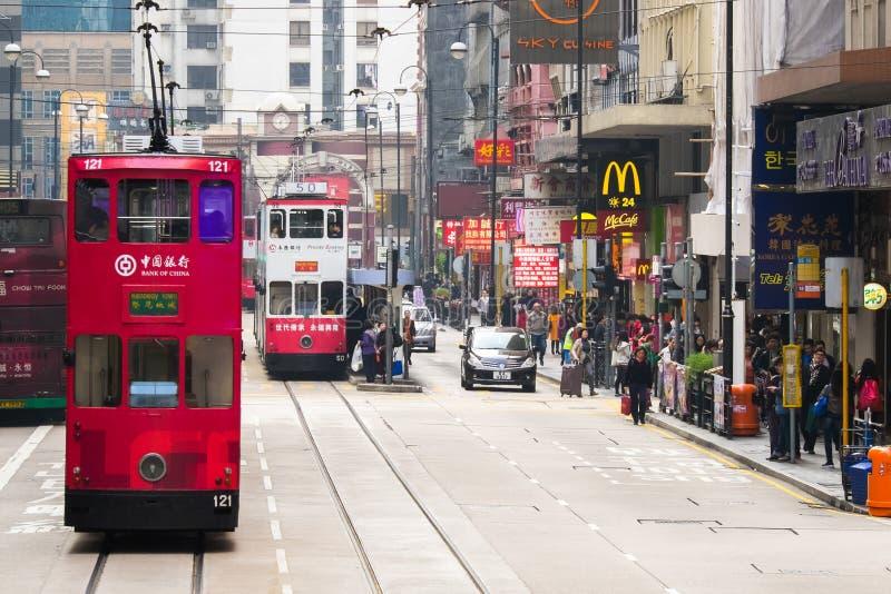Hong Kong-Stadtbildansicht mit berühmten Trams bei Wan Chai stockfotografie