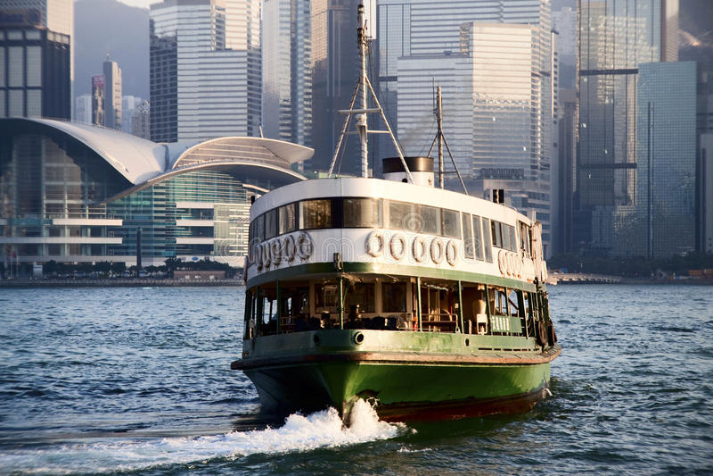 Hong Kong stjärnafärja på skymningen royaltyfri fotografi