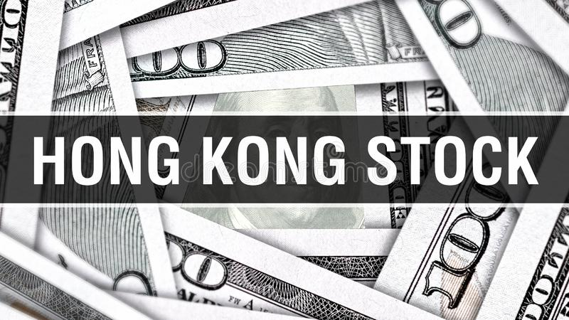 Hong Kong Stock Closeup Concept Amerikanska dollar kontanta pengar, tolkning 3D Hong Kong Stock på dollarsedeln Finansiella USA p vektor illustrationer