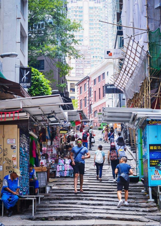 Hong Kong Stone Slab Street aka Pottinger gata royaltyfria foton
