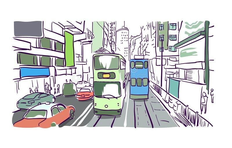 Hong kong street vector illustration tram watercolor royalty free illustration